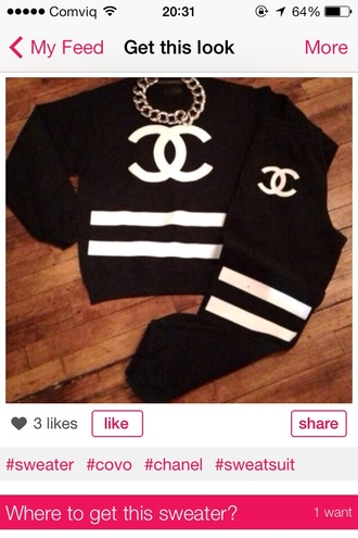 chanel coco sweater sweatsuit sweatpants necklace