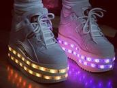 shoes,light up shoes,platform shoes,white platforms,cute,buffalo