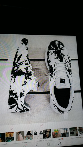 shoes nike sneakers palm trees nike roshe run black and white