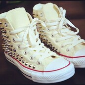 shoes,converse,studs,white,fashion,street,girl,girly,swag,sneakers,high top sneakers,lawlz