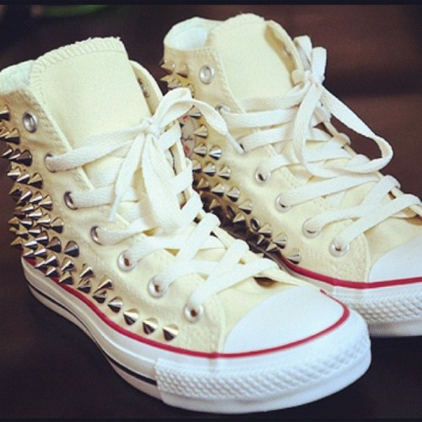 Shoes: converse, studs, white, fashion, street, girl ...