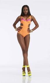 swimwear,nicki minaj collection,barbie,orange,pink,trikini,kmart,one piece swimsuit
