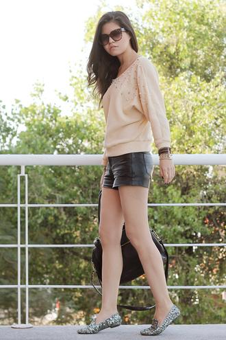 fake leather shorts bag sunglasses sweater shoes