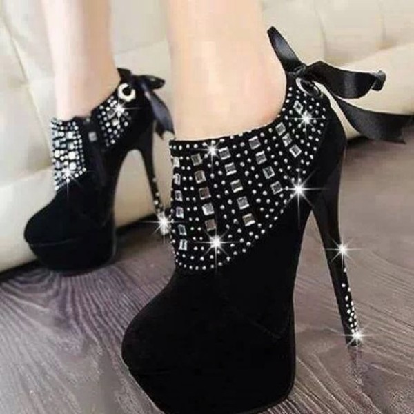 shoes black suede booties high heels black diamonds
