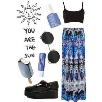 skirt blue black white multicolor maxi summer
