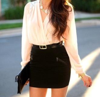 dress mini skirt black skirt short skirt crossed front beige blouse