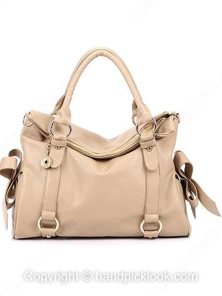 Khaki Pendant Embellished PU Leather Handbag - HandpickLook.com