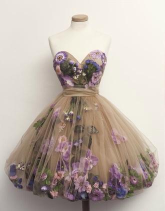 dress flowers purple short prom nude corset corset top v neck dress
