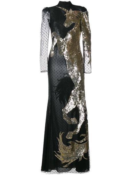 Alexander Mcqueen gown unicorn women black silk dress