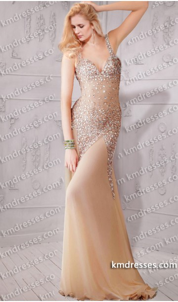 glamourous beads jewels covered open back evening gown