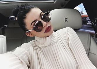 sunglasses kylie jenner instagram turtleneck make-up blouse pleated white blouse