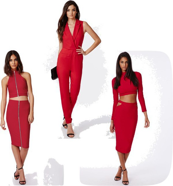 four one oh blogger skirt jumpsuit red two-piece bodycon romper