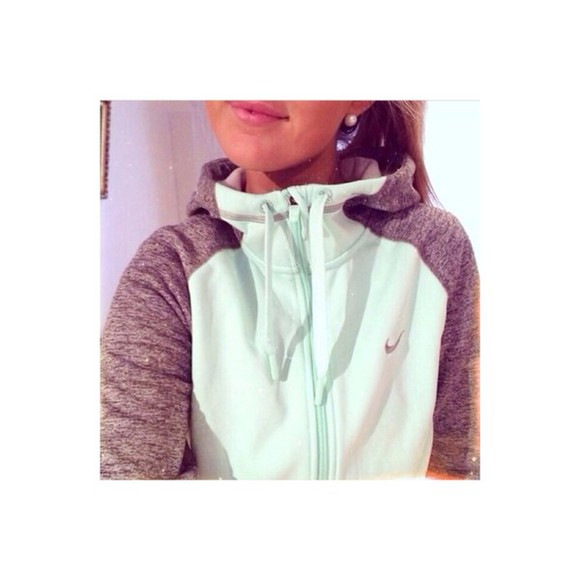 jacket nike nike sweater mint sweater