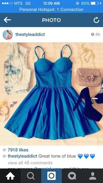 dress thin strapes blue
