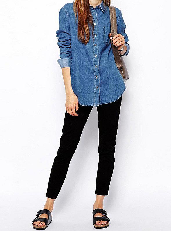 Boyfriend style blue plain denim blouses with single pocket