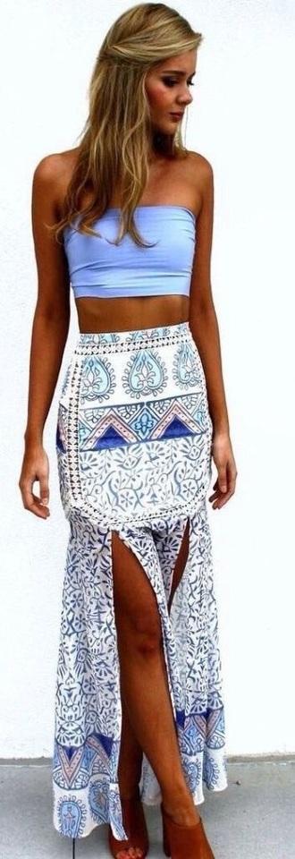 skirt purple boho summer tube top maxi skirt