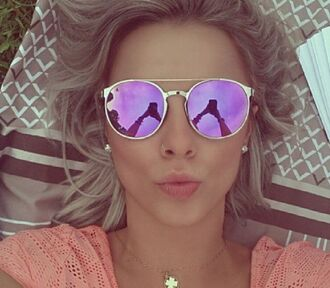 sunglasses sunnies pink sunglasses round sunglasses round oval sunglasses oval purple sunglasses reflection reflective gold frame metal frame purple lavender summer outfits reflective sunglasses retro sunglasses silver frame gold
