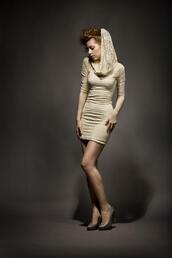 dress,hooded,lace dress