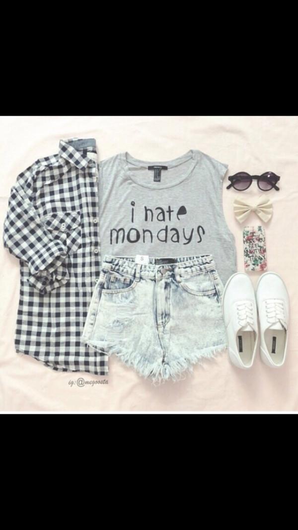 top i hate mondays t-shirt tumblr outfit tumblr shorts tumblr shirt
