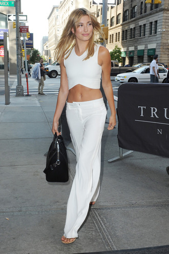 pants top white all white everything fashion week streetstyle hailey baldwin crop tops wide-leg pants
