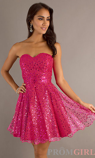 Strapless Short Prom Dresses, Sequin Strapless Dresses- PromGirl