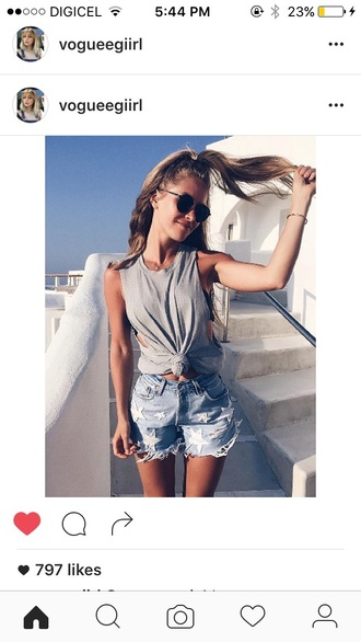 shorts denim denim shorts ripped shorts grey tank top grey tank top sunglasses