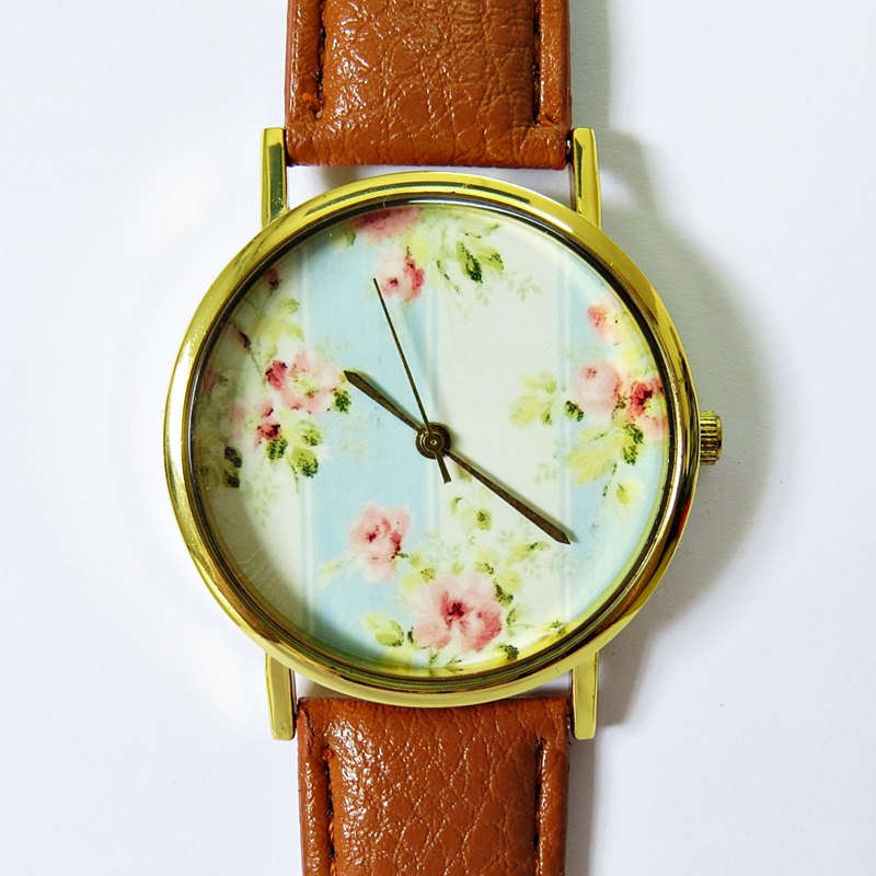 Grandma's Wallpaper Floral Watch, Vintage Style Leather Watch, Women Watches, Boyfriend Watch, Ladies Watch,