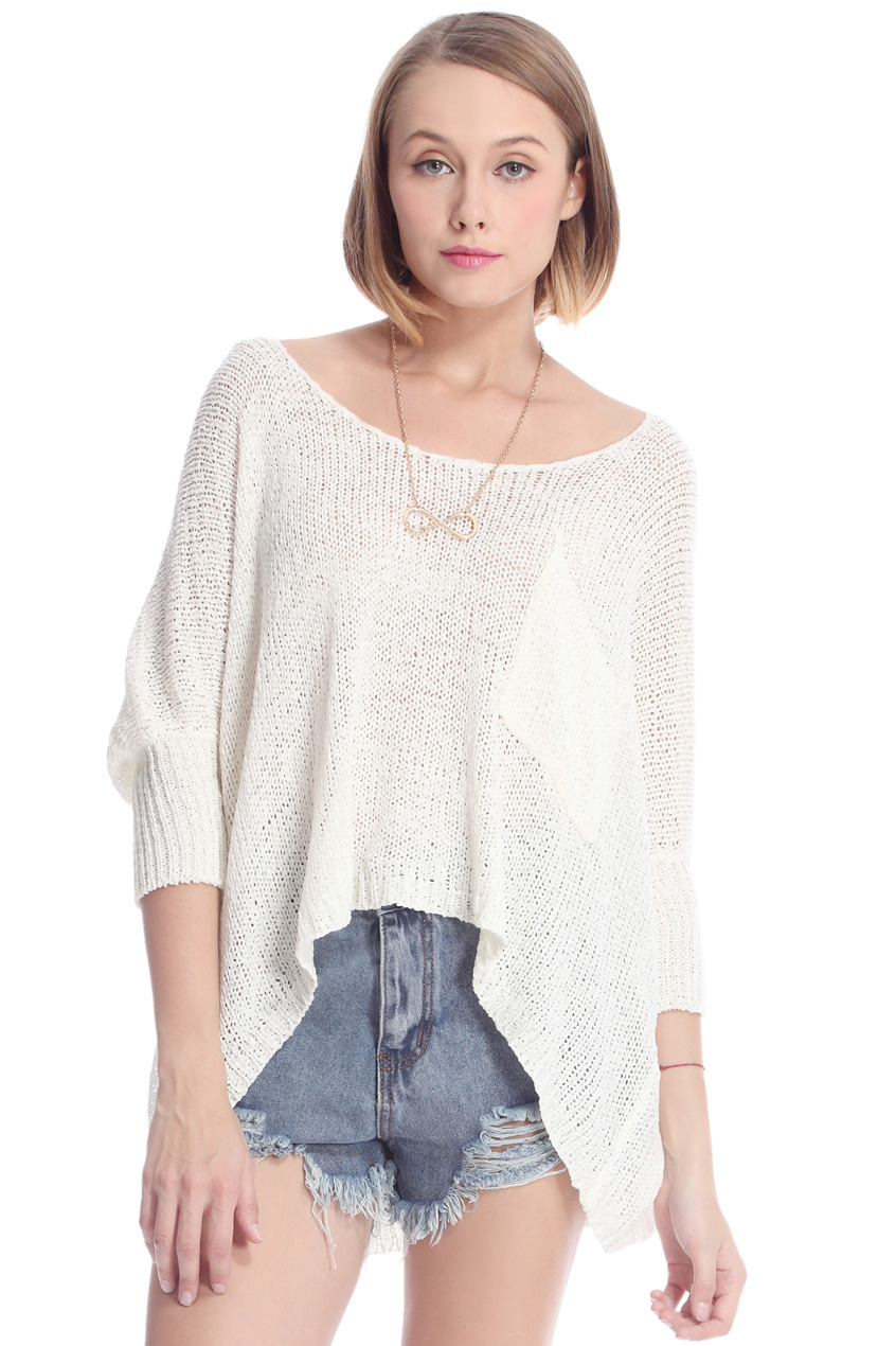 ROMWE | ROMWE Asymmetric Hollow-out Batwing Sleeved White Jumper, The Latest Street Fashion