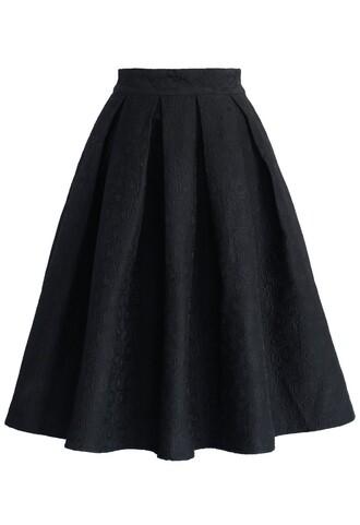 chicwish jacquard rose skirt black midi skirt pleated skirt