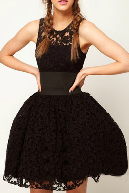 Lace Cut-out Belted Black Bubble Dress, The Latest Street Fashion