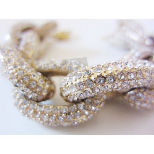 Pave rhinestone chain link necklace