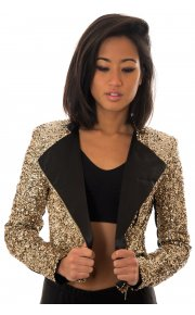 Sequin Zip Front Biker Jacket In Gold -  from The Fashion Bible  UK