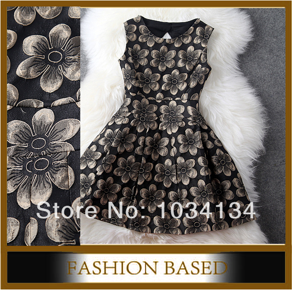 dress new 2014 Europe style spring summer Lan brand design women embroidery dress black and wine red brand dresses-in Dresses from Apparel & Accessories on Aliexpress.com