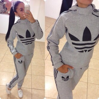 jumpsuit grey adidas pants jacket hoodie tracksuit