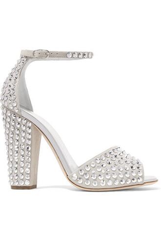 embellished light sandals suede shoes