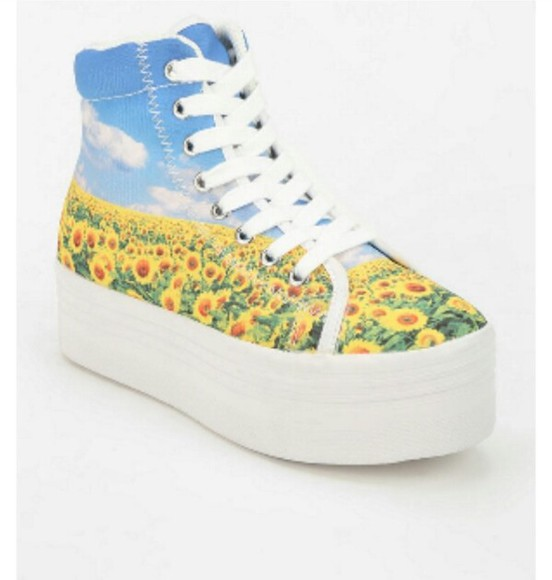 urban outfitters shoes flowers print floral clouds platform shoes