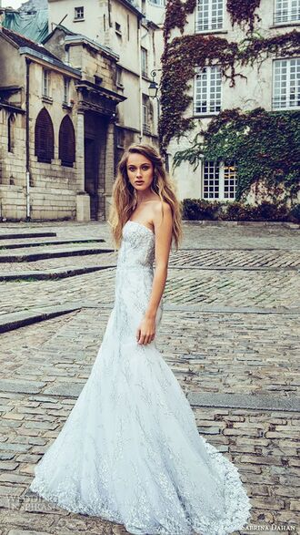 dress white dress long dress bustier dress bustier wedding dress wedding dress lace dress lace fishtail dress strapless dress pattern