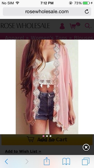 cute shorts sexy kimono pink cute outfits cute shirt cute  outfits outfit outfit idea summer outfits date outfit spring outfits pretty girly summer top summer shorts style denim denim shorts short short shorts crop tops crop cropped white crop tops lace top women