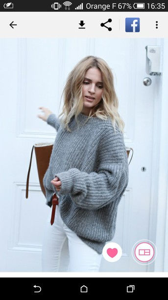 sweater clothes grey sweater oversized sweater le fashion blogger white jeans jumper knitwear grey oversized sweater comfy crochet sweater oversized sweater