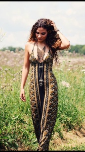 dress,maxi dress,bohemian dress,boho chic,boteh,patterned dress,floral dress,curly hair,black dress,black and gold dress,bodycon dress,free people,hippy long boho