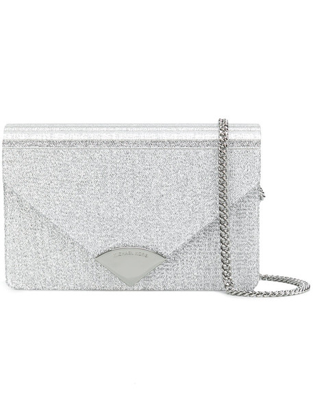 metallic women clutch leather grey bag