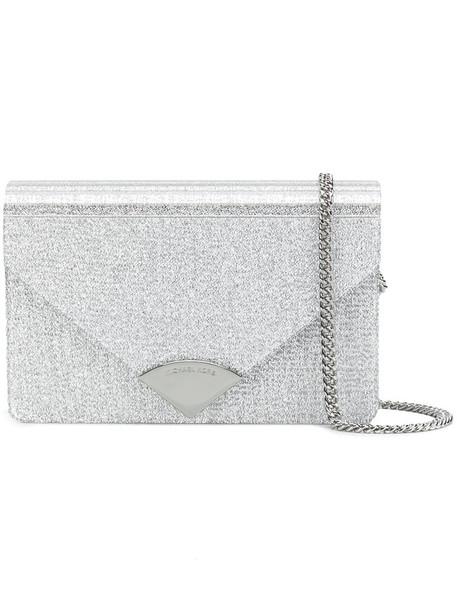 MICHAEL Michael Kors metallic women clutch leather grey bag