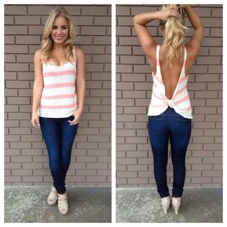 shirt striped shirt stripes coral white open back pants knot back knitted top blouse tank top low back stripped