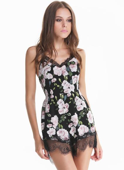Sleeveless lace floral black jumpsuit