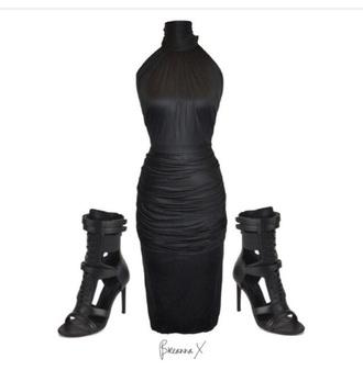 dress high neck dress drape black dress blazer