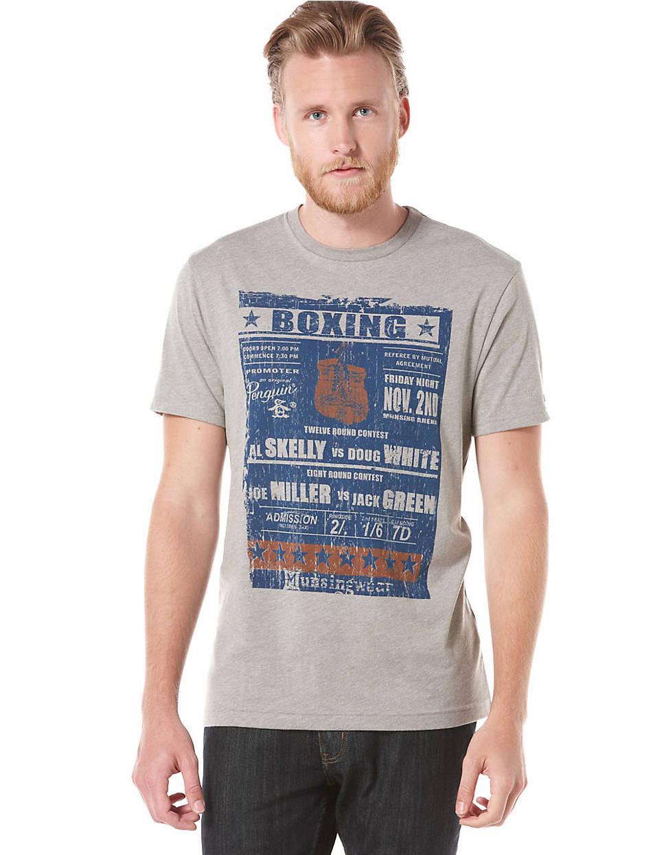 Original Penguin Gray Boxing Poster T-shirt