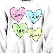 sweater,5sos hoodie,5 seconds of summer,5sos sweatshirt,luke hemmings,calum hood,ashton irwin,michael clifford,shirt,band t-shirt