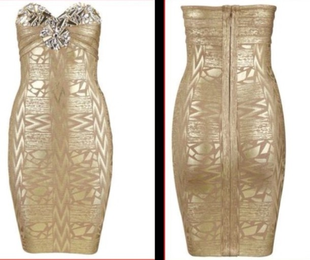 dress gold bodycon