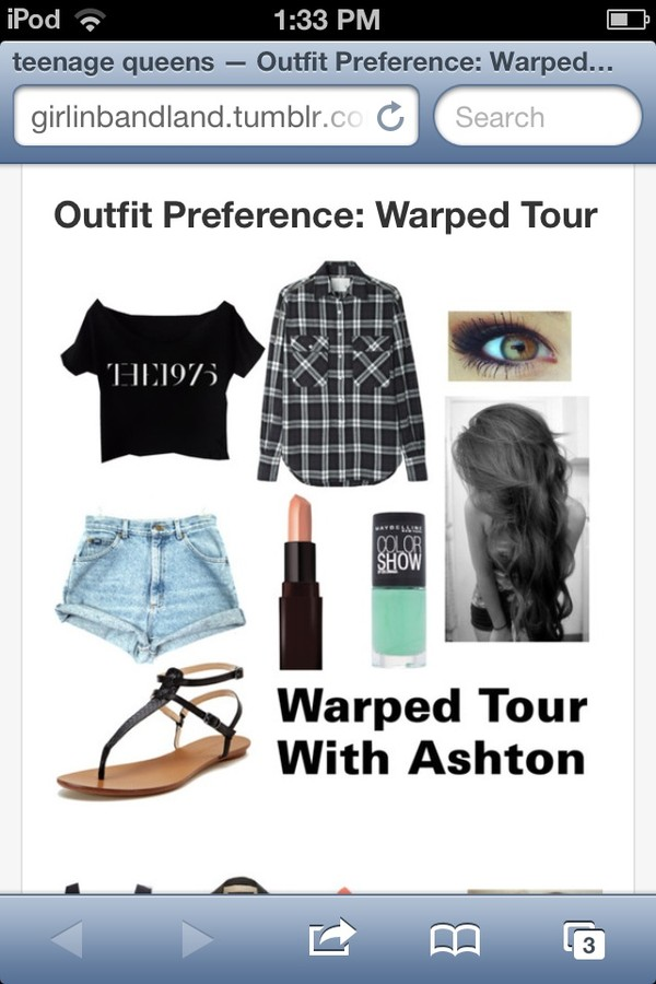 shirt the 1975 crop tops flannel shirt High waisted shorts