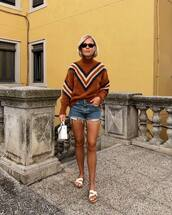 shoes,slide shoes,denim shorts,ripped shorts,handbag,sweater,knitted sweater,sunglasses,earrings